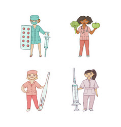 flat cartoon female doctors with huge objects vector image