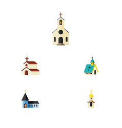 Flat icon building set of structure religion vector