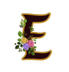 flower alphabet letter e decorated with roses and vector image