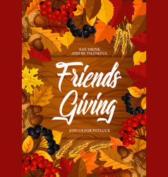 Friendsgiving potluck dinner thanksgiving theme vector