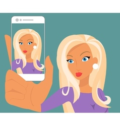 Funny selfie of blonde sensual woman wearing vector image