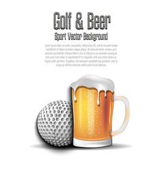 Golf ball with mug beer vector