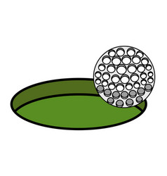golf sport ball with hole icon vector image