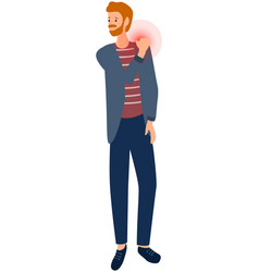Guy with sad face suffering from shoulder pain vector