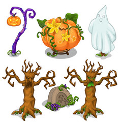 Halloween symbols tree pumpkin ghost grave vector