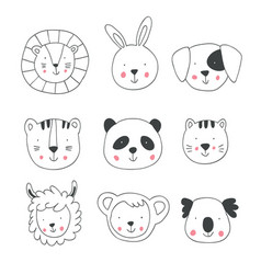 Hand drawing animal faces vector