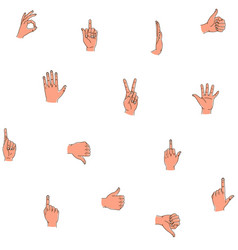 hands gestures seamless background pattern hand vector image