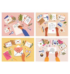 hands with postcards and letters envelopes vector image
