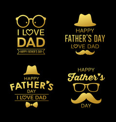 happy fathers day gold design collections vector image
