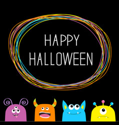 Happy halloween colorful monster silhouette head vector