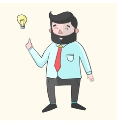 Hipster man beard with idea lamp for text color vector