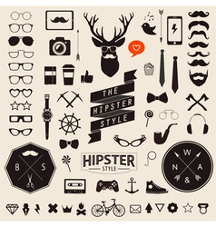 Huge set of vintage styled design hipster icons vector image vector image