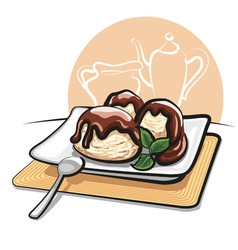 ice cream with chocolate vector image