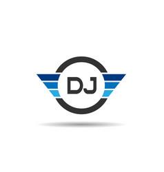 Initial letter dj logo template design vector