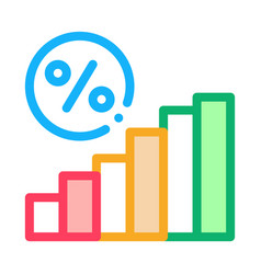 interest rising statistics icon outline vector image