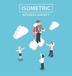Isometric businessman flying with a jetpack vector image