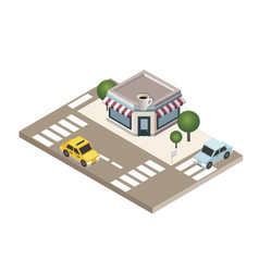 isometric cozy cafe restaurant building with vector image