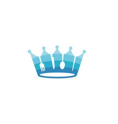 king crown blue food logo vector image