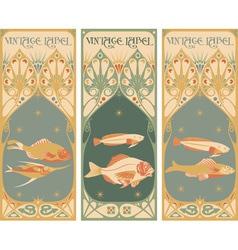 Label art fish vector
