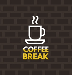 Line Art Icon Design Coffee Cup Icon with Text vector