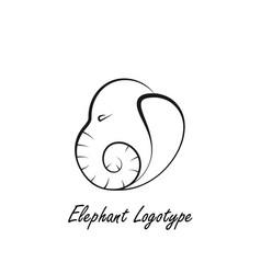 Lined logotype made as an elephants head vector