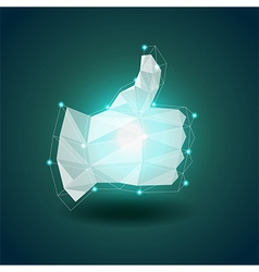 Luminous polygonal hand thumbs up background vector image
