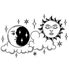 magic with sun and moon mystic vector image