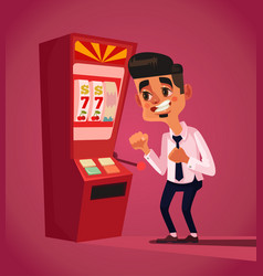 man character play in slot machine vector image