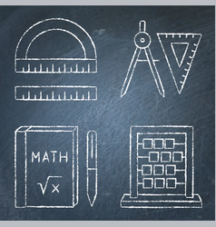 Math instruments icons set in line style on vector