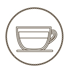 Monochrome round contour with coffee cup close up vector