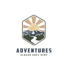 mountain and river landscape adventure logo icon vector image