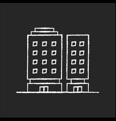 Multiapartment complex chalk white icon on black vector