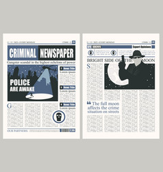 Newspaper template on criminal theme vector