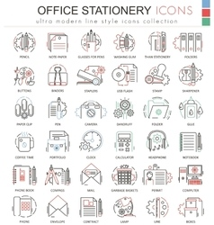 Office stationery line red color line vector image