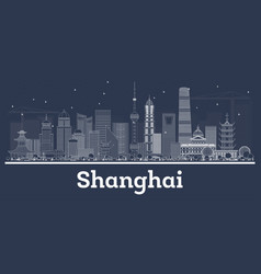 Outline shanghai china city skyline with white vector