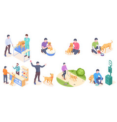 Pet dog care daily owner animal life isometric vector