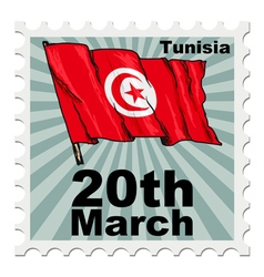 Post stamp of national day of Tunisia vector