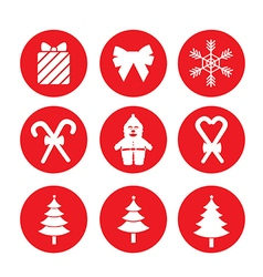 Red Christmas icons vector image