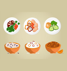 rice and porridges collection vector image