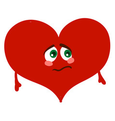 sad red heart on white background vector image