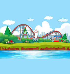 Scene background design with roller coaster at vector