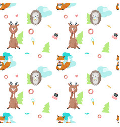 seamless pattern with cute eating animals vector image