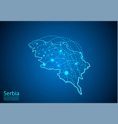 serbia map with nodes linked by lines concept of vector image