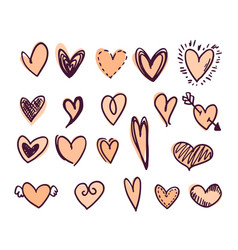 set colored heart shapes vector image
