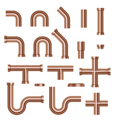 set copper pipes vector image