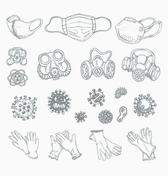 set different icons coronavirus infection vector image