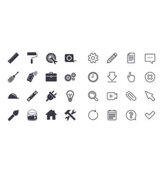 Set of construction tools engineering and repair vector