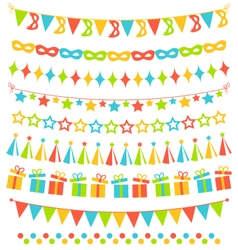 Set of multicolored flat buntings garlands flags vector image
