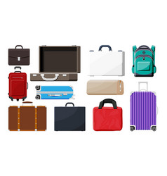 set of plastic and leather business case vector image