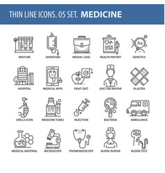set of thin line flat icons medicine vector image